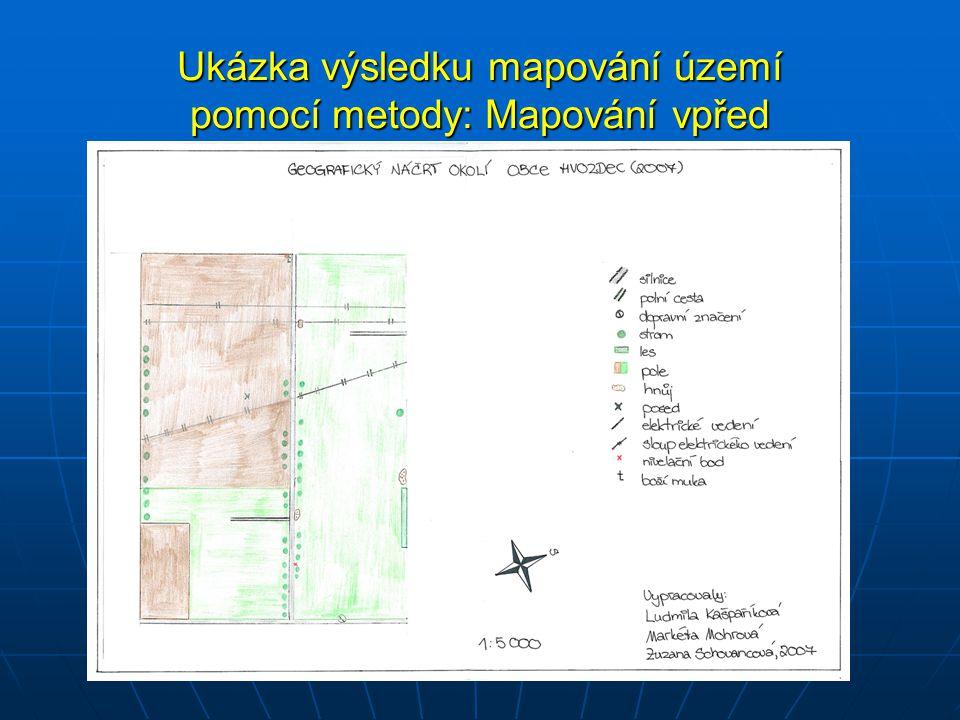 Ukázka výsledku mapování území pomocí metody: Mapování vpřed
