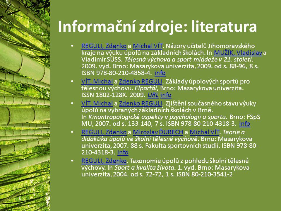 Informační zdroje: literatura