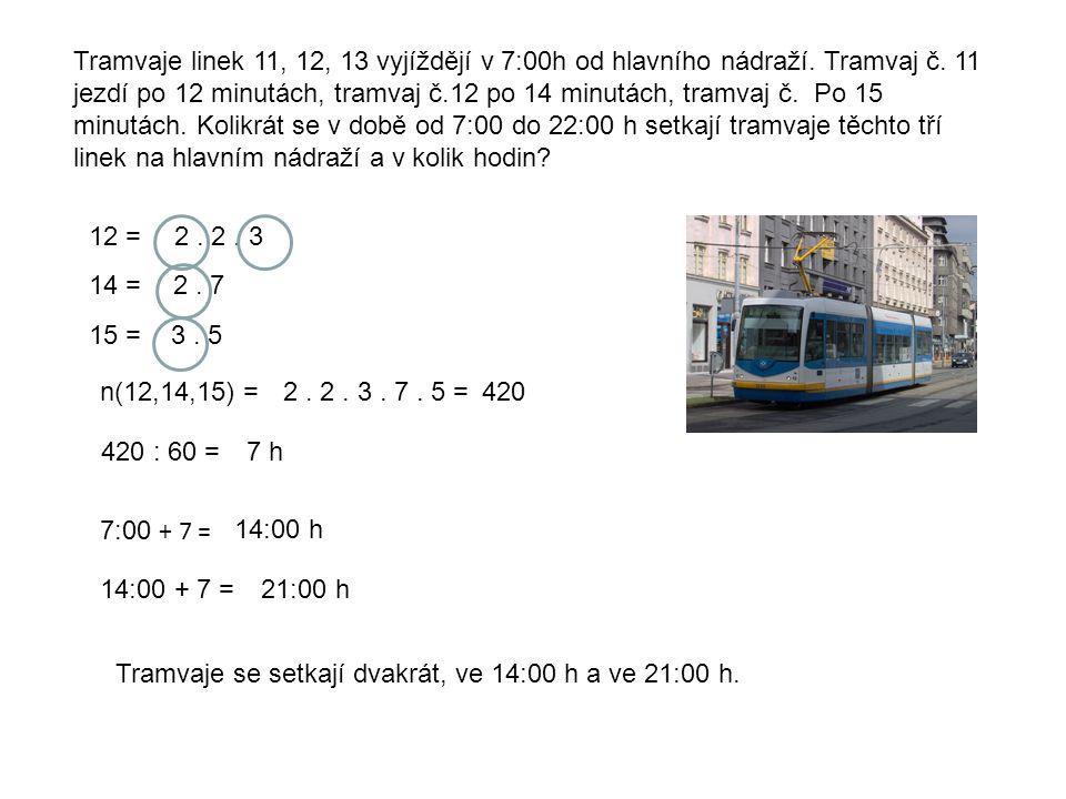 Tramvaje linek 11, 12, 13 vyjíždějí v 7:00h od hlavního nádraží