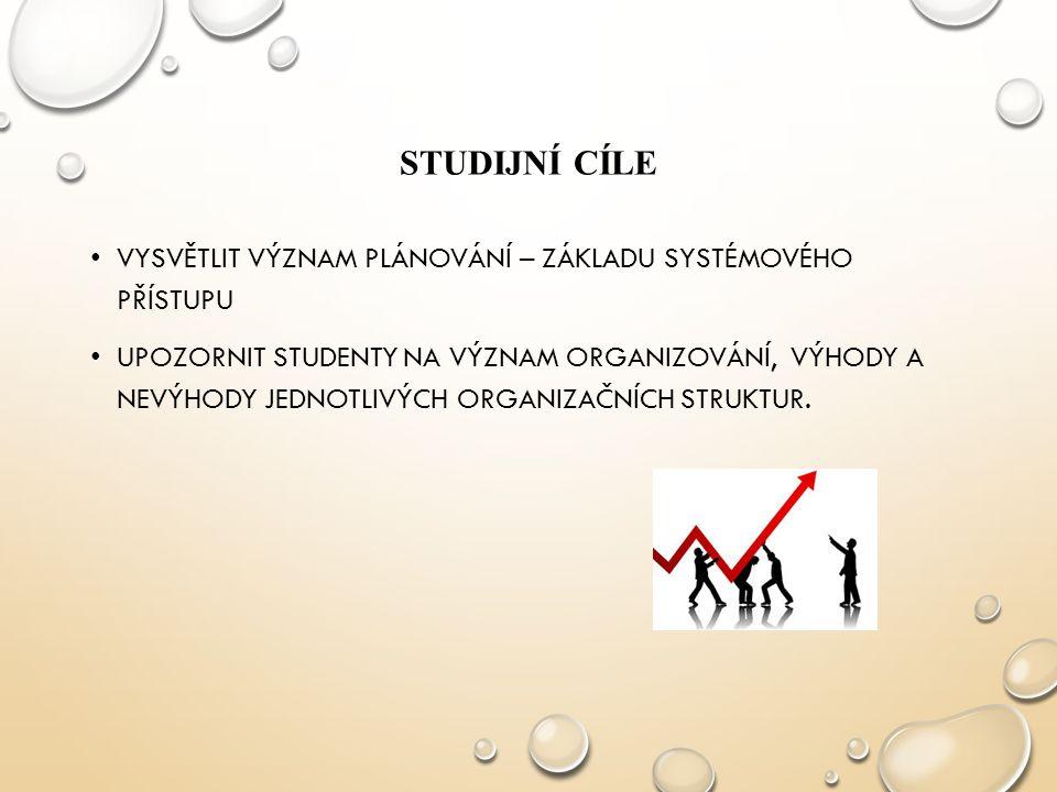 Studijní cíle VYSVĚTLIT VÝZNAM PLÁNOVÁNÍ – ZÁKLADU SYSTÉMOVÉHO PŘÍSTUPU.