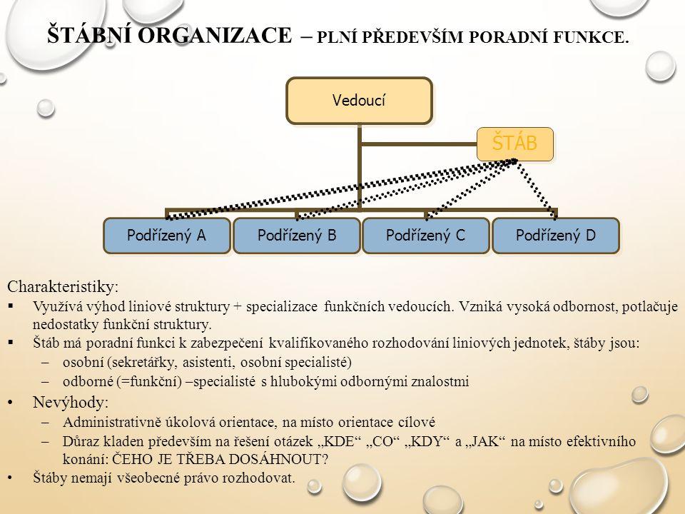 Štábní organizace – plní především poradní funkce.