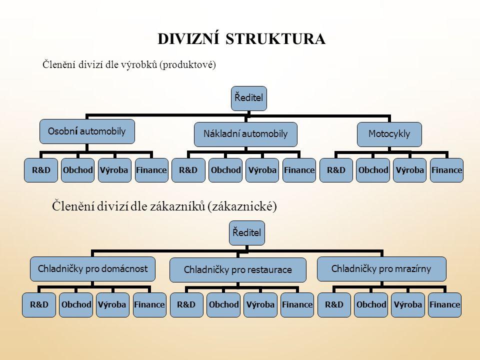 Divizní struktura Členění divizí dle zákazníků (zákaznické)