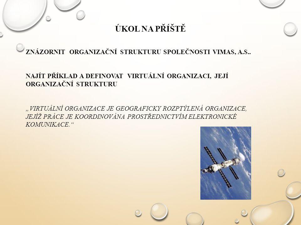 ÚKOL na příště ZNÁZORNIT ORGANIZAČNÍ STRUKTURU SPOLEČNOSTI VIMAS, A.S..