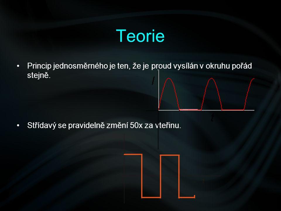 Teorie Princip jednosměrného je ten, že je proud vysílán v okruhu pořád stejně.