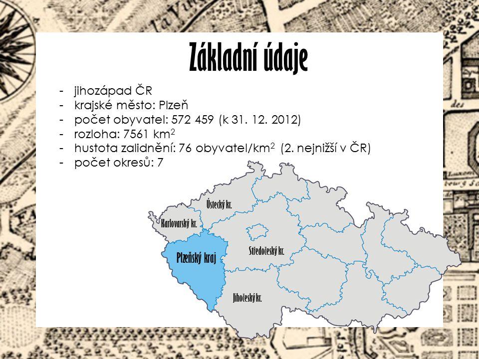 Základní údaje Plzeňský kraj jihozápad ČR krajské město: Plzeň