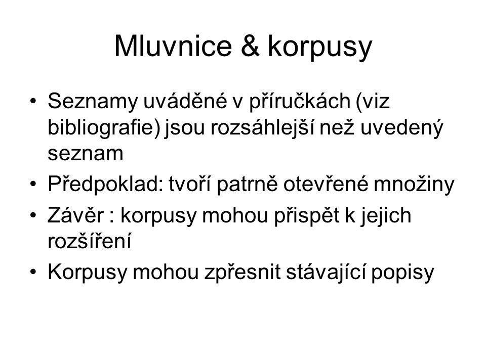 Mluvnice & korpusy Seznamy uváděné v příručkách (viz bibliografie) jsou rozsáhlejší než uvedený seznam.