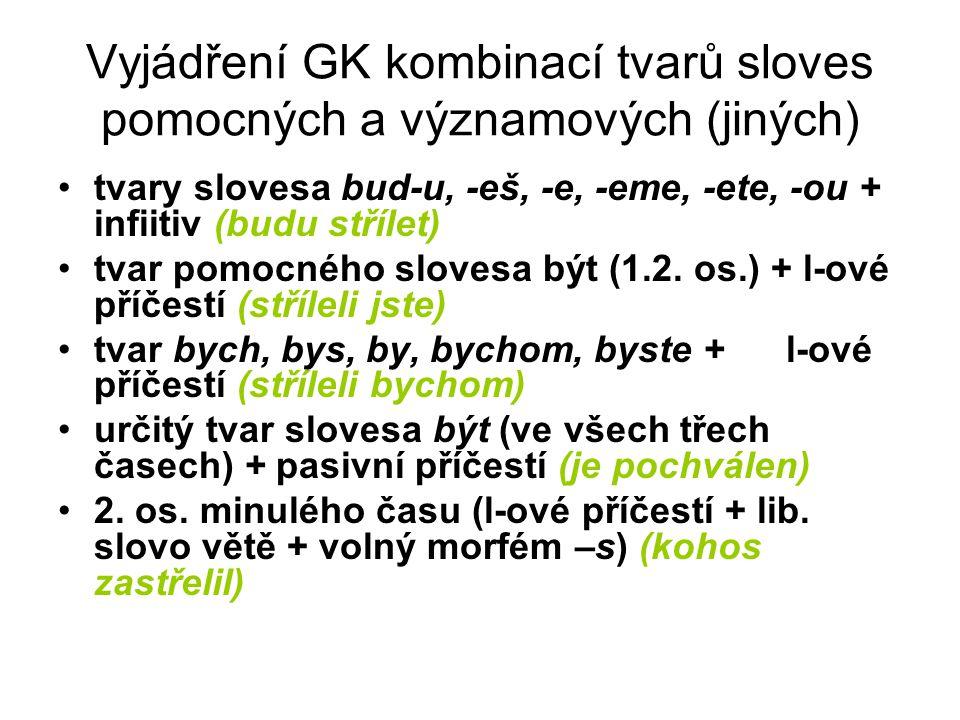 Vyjádření GK kombinací tvarů sloves pomocných a významových (jiných)