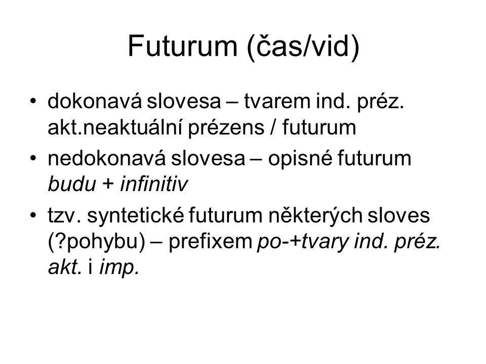 Futurum (čas/vid) dokonavá slovesa – tvarem ind. préz. akt.neaktuální prézens / futurum. nedokonavá slovesa – opisné futurum budu + infinitiv.