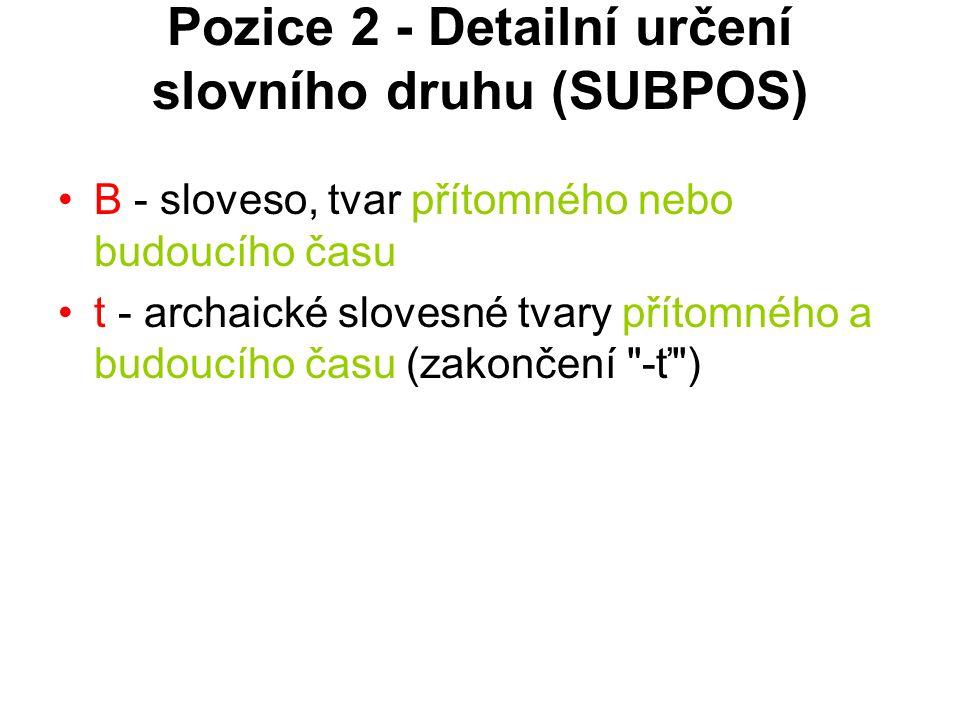 Pozice 2 - Detailní určení slovního druhu (SUBPOS)