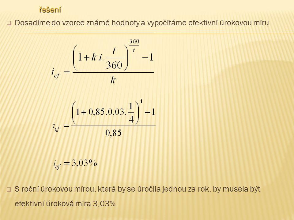 řešení Dosadíme do vzorce známé hodnoty a vypočítáme efektivní úrokovou míru.
