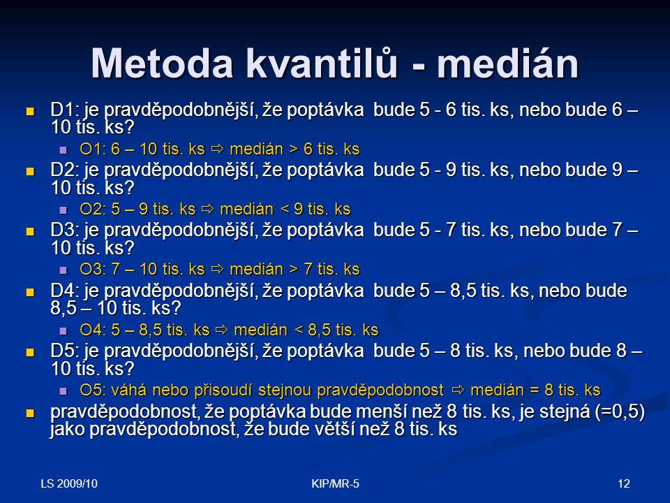 Metoda kvantilů - medián