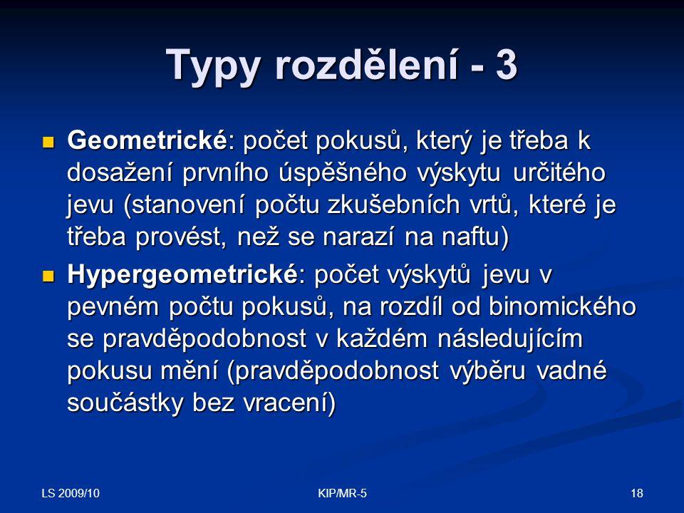 Typy rozdělení - 3