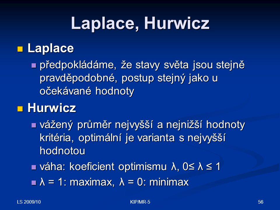 Laplace, Hurwicz Laplace Hurwicz