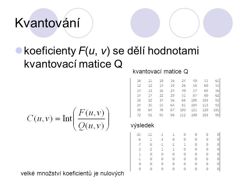 Kvantování koeficienty F(u, v) se dělí hodnotami kvantovací matice Q