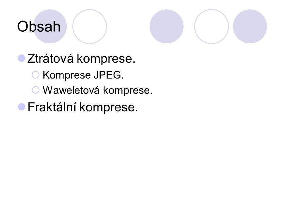 Obsah Ztrátová komprese. Fraktální komprese. Komprese JPEG.