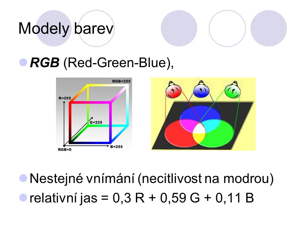 Modely barev RGB (Red-Green-Blue),