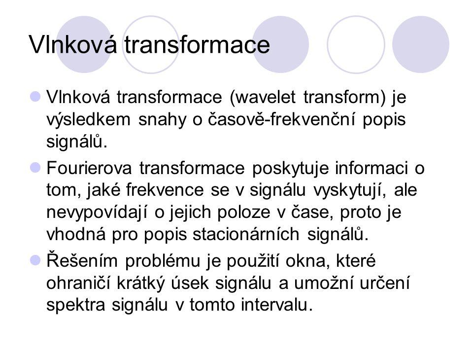 Vlnková transformace Vlnková transformace (wavelet transform) je výsledkem snahy o časově-frekvenční popis signálů.