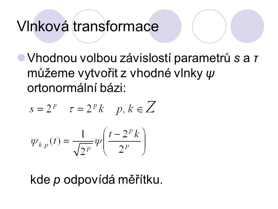 Vlnková transformace Vhodnou volbou závislostí parametrů s a τ můžeme vytvořit z vhodné vlnky ψ ortonormální bázi: