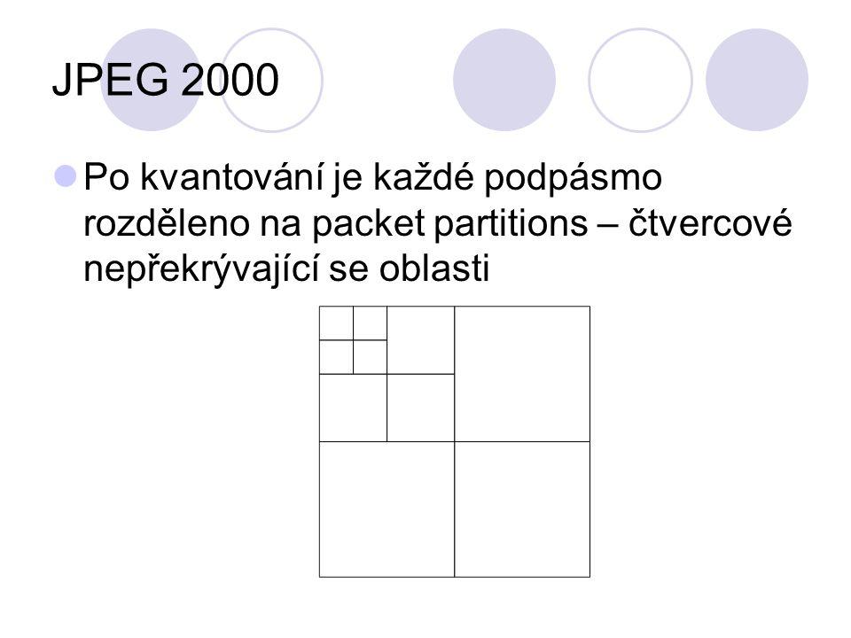 JPEG 2000 Po kvantování je každé podpásmo rozděleno na packet partitions – čtvercové nepřekrývající se oblasti.