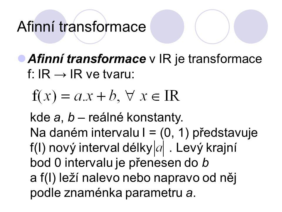 Afinní transformace Afinní transformace v IR je transformace f: IR → IR ve tvaru: kde a, b – reálné konstanty.