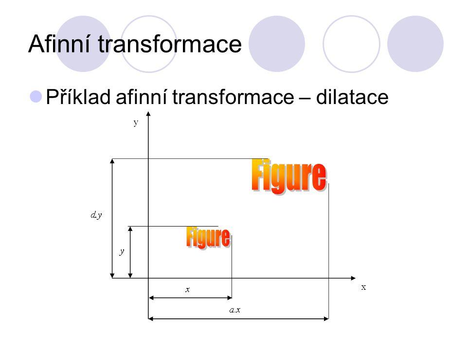 Afinní transformace Příklad afinní transformace – dilatace