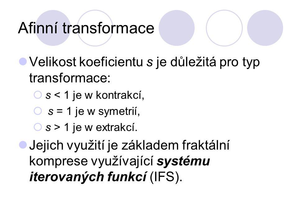 Afinní transformace Velikost koeficientu s je důležitá pro typ transformace: s < 1 je w kontrakcí,
