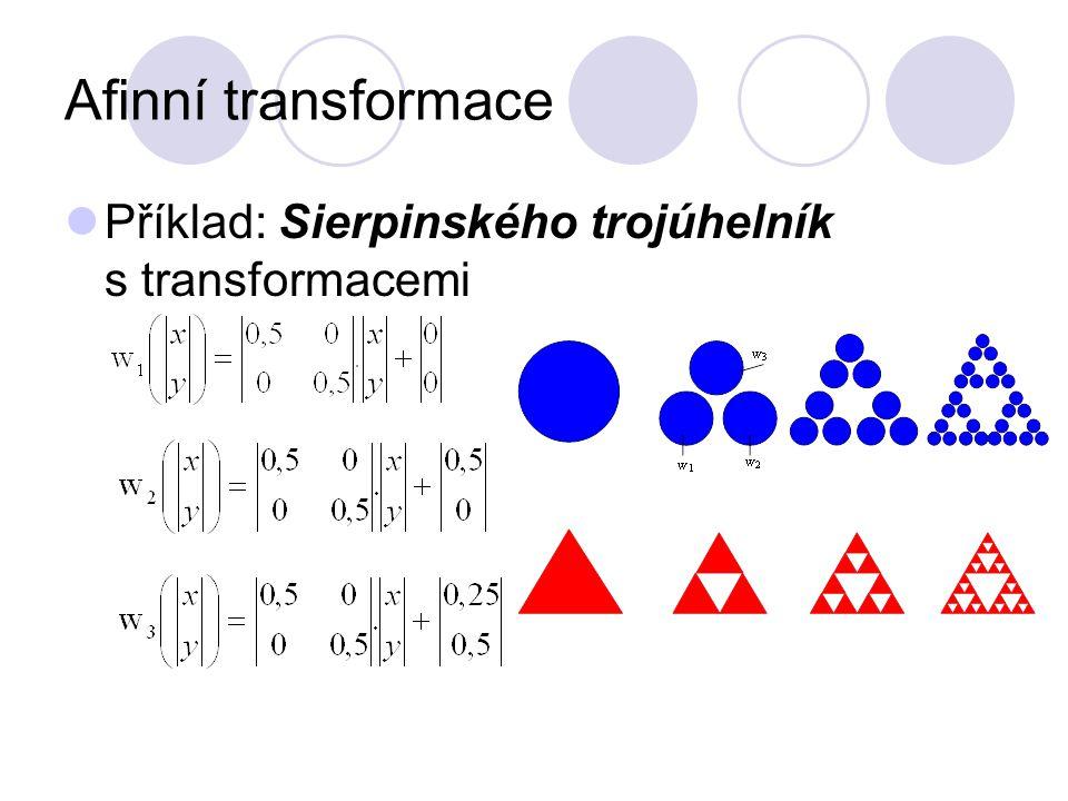 Afinní transformace Příklad: Sierpinského trojúhelník s transformacemi