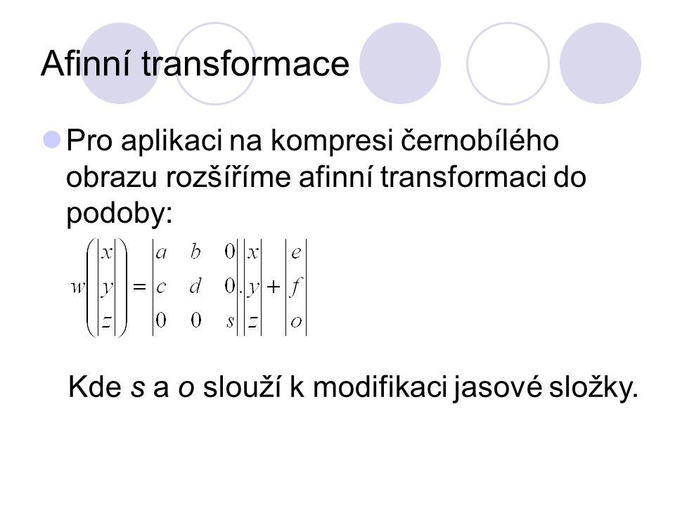 Afinní transformace Pro aplikaci na kompresi černobílého obrazu rozšíříme afinní transformaci do podoby: