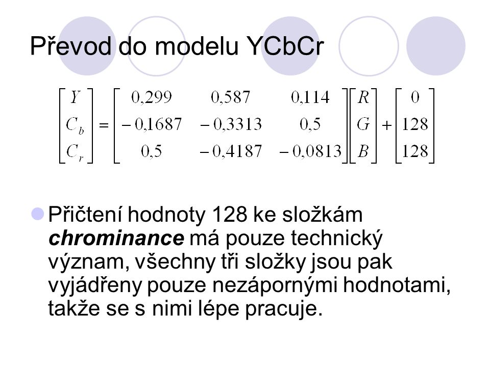 Převod do modelu YCbCr