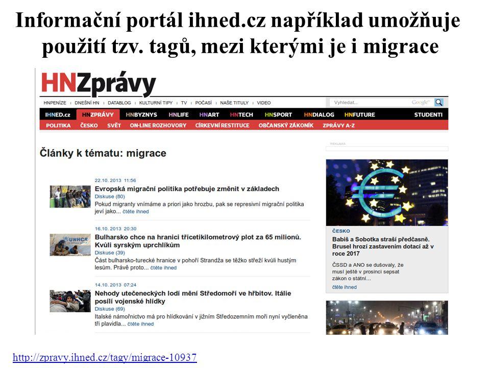 Informační portál ihned. cz například umožňuje použití tzv