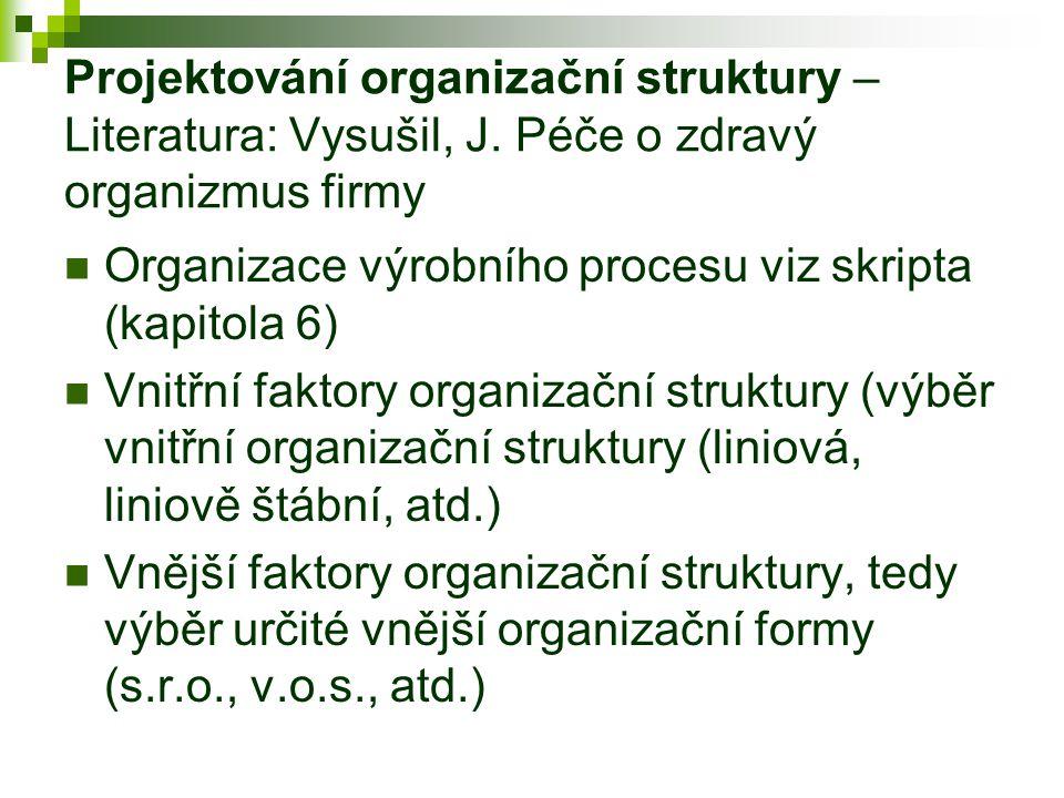 Projektování organizační struktury – Literatura: Vysušil, J