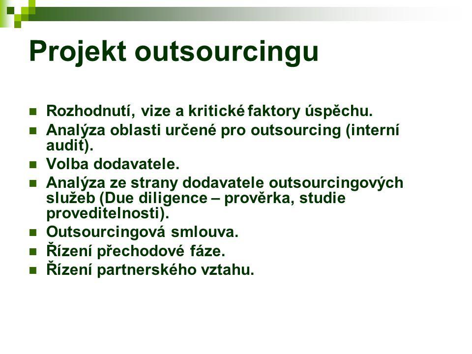 Projekt outsourcingu Rozhodnutí, vize a kritické faktory úspěchu.