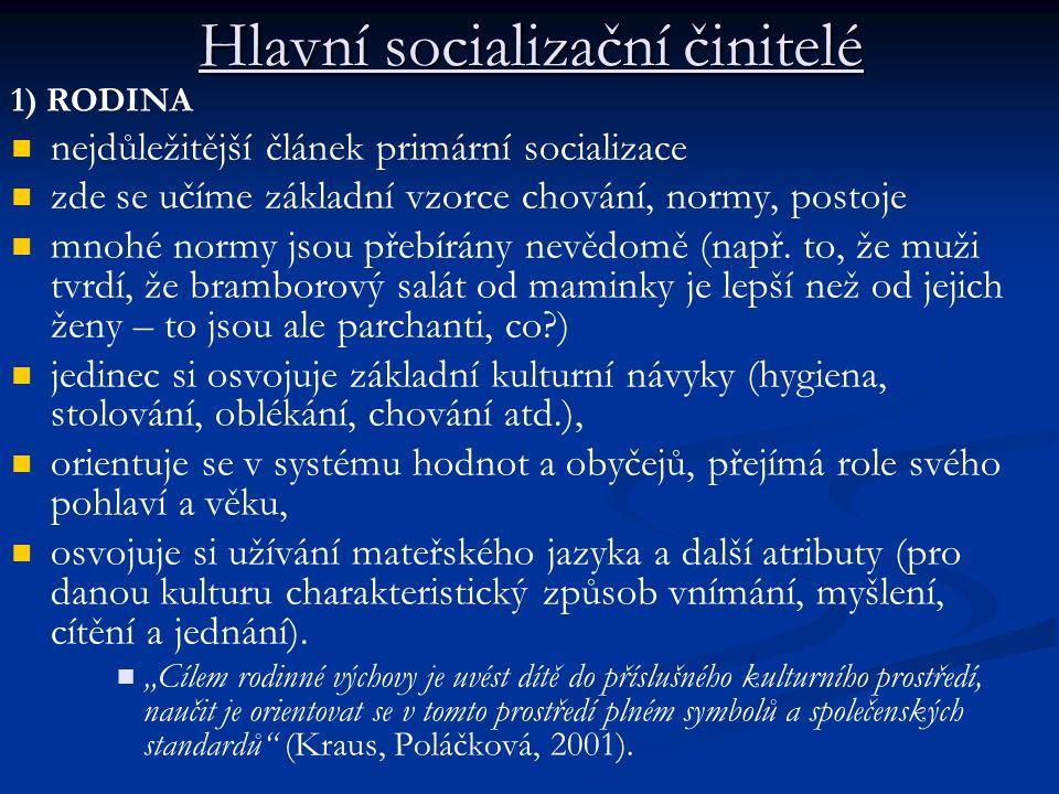 Hlavní socializační činitelé