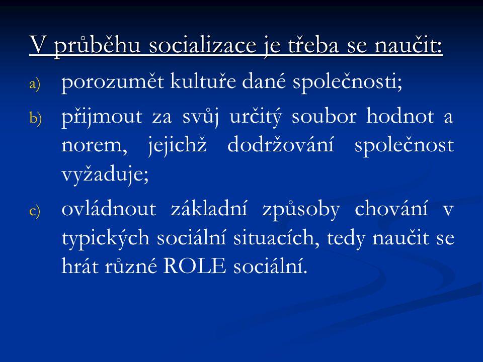 V průběhu socializace je třeba se naučit: