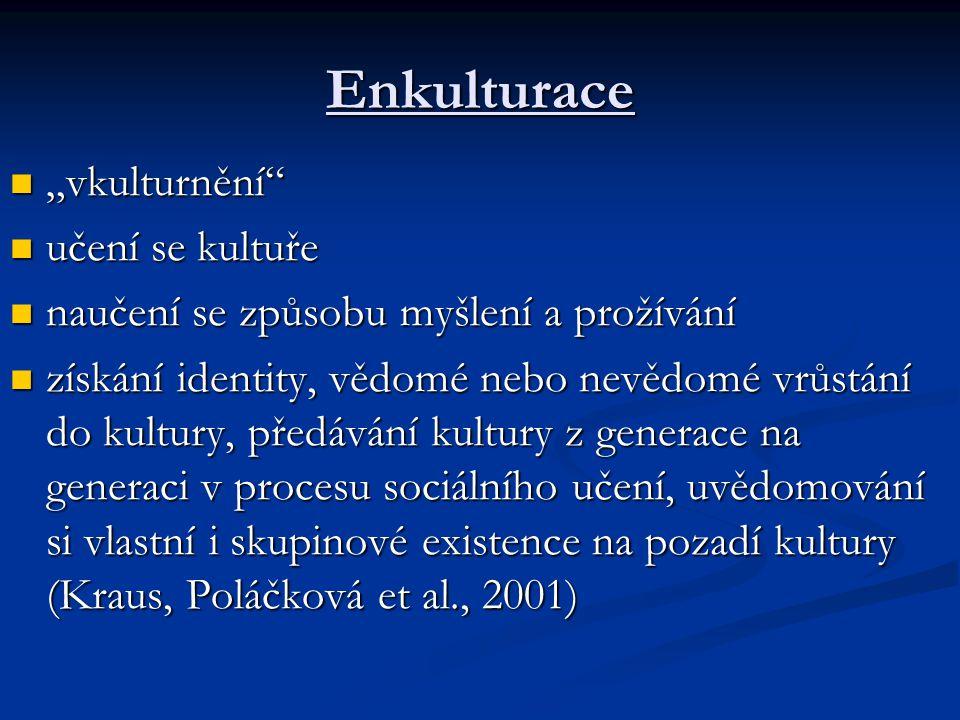 """Enkulturace """"vkulturnění učení se kultuře"""