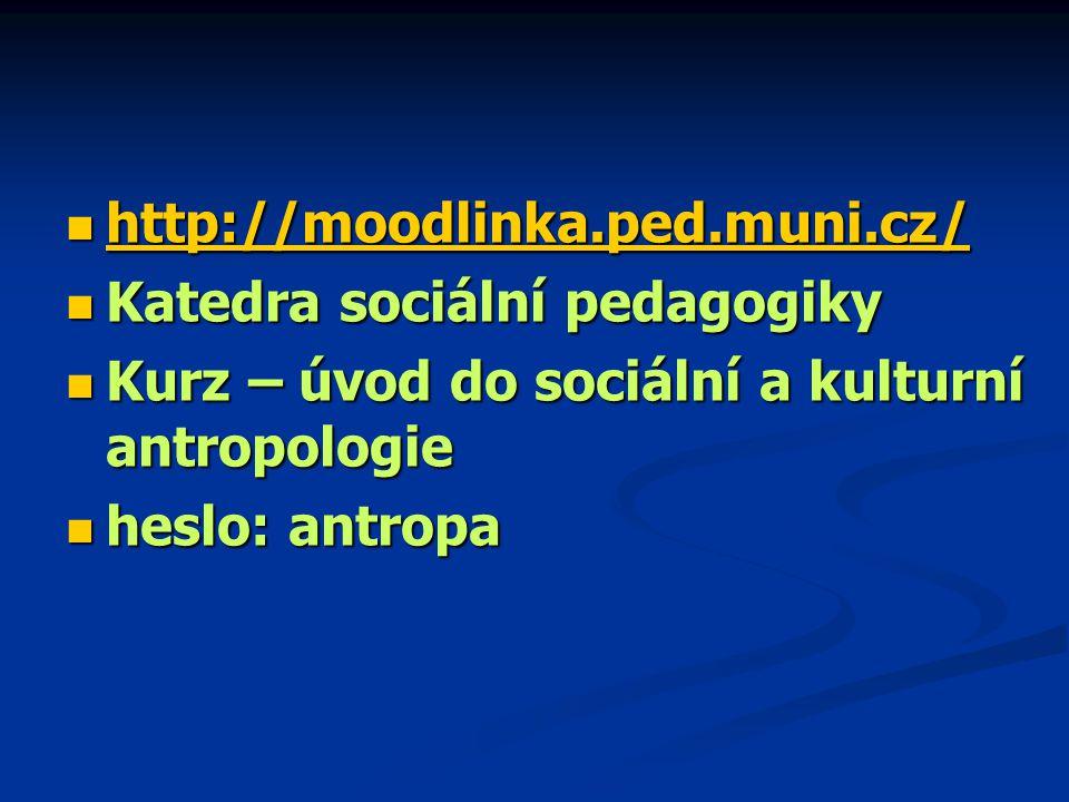 http://moodlinka.ped.muni.cz/ Katedra sociální pedagogiky. Kurz – úvod do sociální a kulturní antropologie.