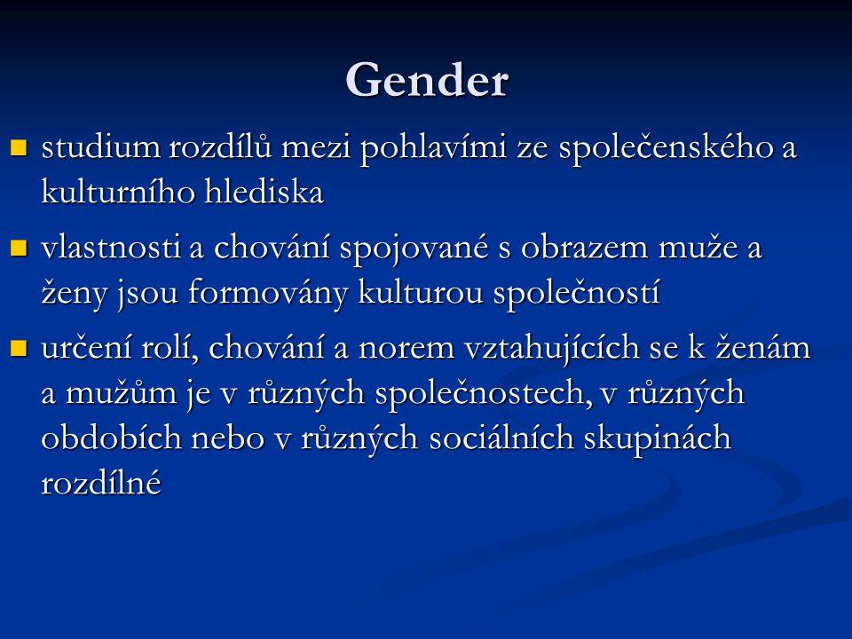 Gender studium rozdílů mezi pohlavími ze společenského a kulturního hlediska.