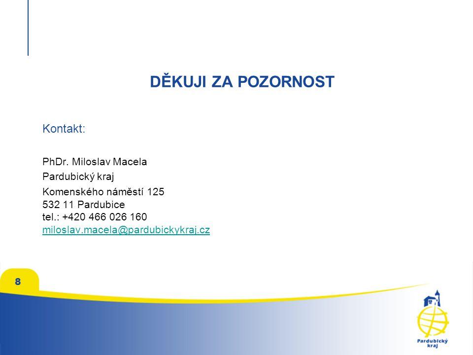 DĚKUJI ZA POZORNOST Kontakt: PhDr. Miloslav Macela Pardubický kraj