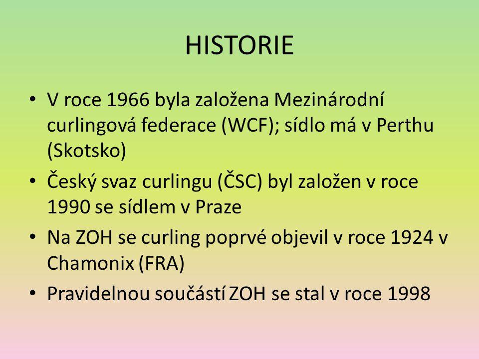 HISTORIE V roce 1966 byla založena Mezinárodní curlingová federace (WCF); sídlo má v Perthu (Skotsko)