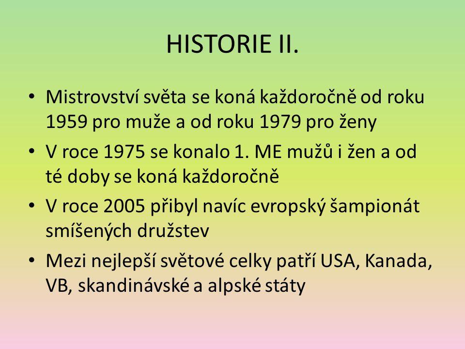HISTORIE II. Mistrovství světa se koná každoročně od roku 1959 pro muže a od roku 1979 pro ženy.