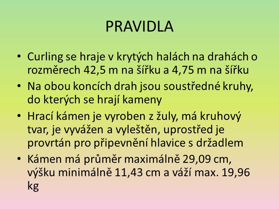 PRAVIDLA Curling se hraje v krytých halách na drahách o rozměrech 42,5 m na šířku a 4,75 m na šířku.