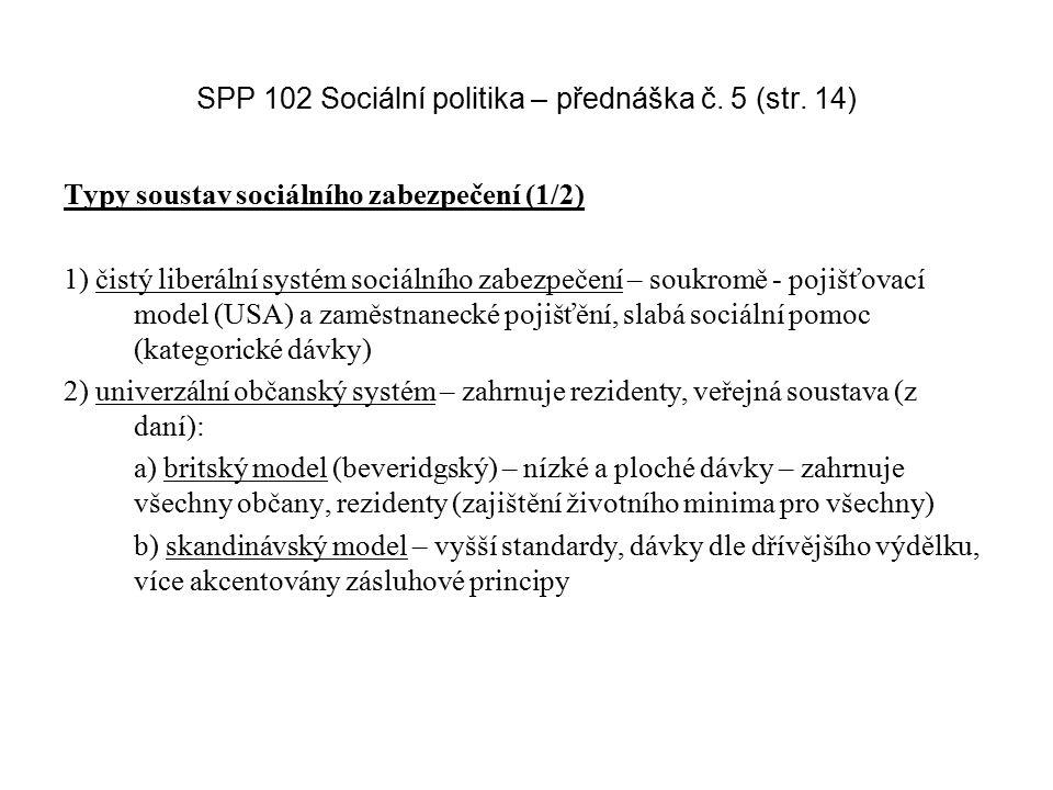 SPP 102 Sociální politika – přednáška č. 5 (str. 14)