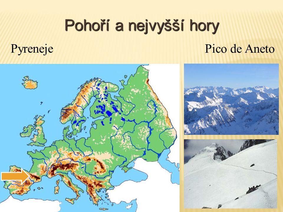 Pohoří a nejvyšší hory Pyreneje Pico de Aneto
