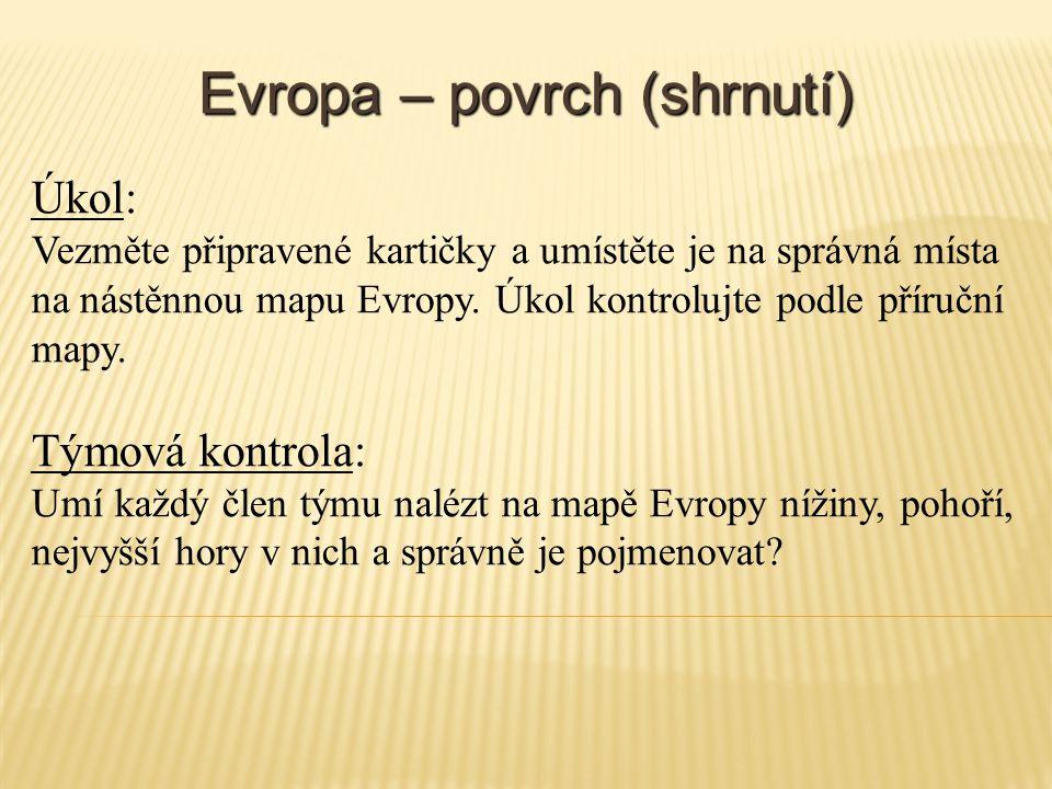 Evropa – povrch (shrnutí)
