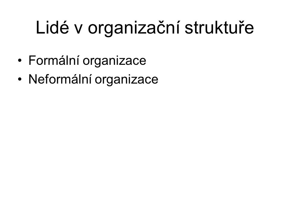 Lidé v organizační struktuře