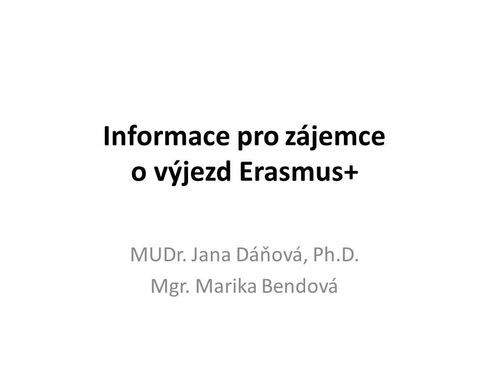 Informace pro zájemce o výjezd Erasmus+