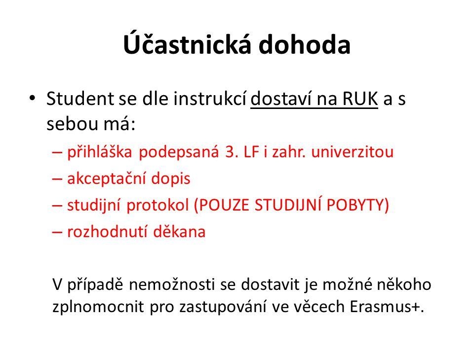 Účastnická dohoda Student se dle instrukcí dostaví na RUK a s sebou má: přihláška podepsaná 3. LF i zahr. univerzitou.