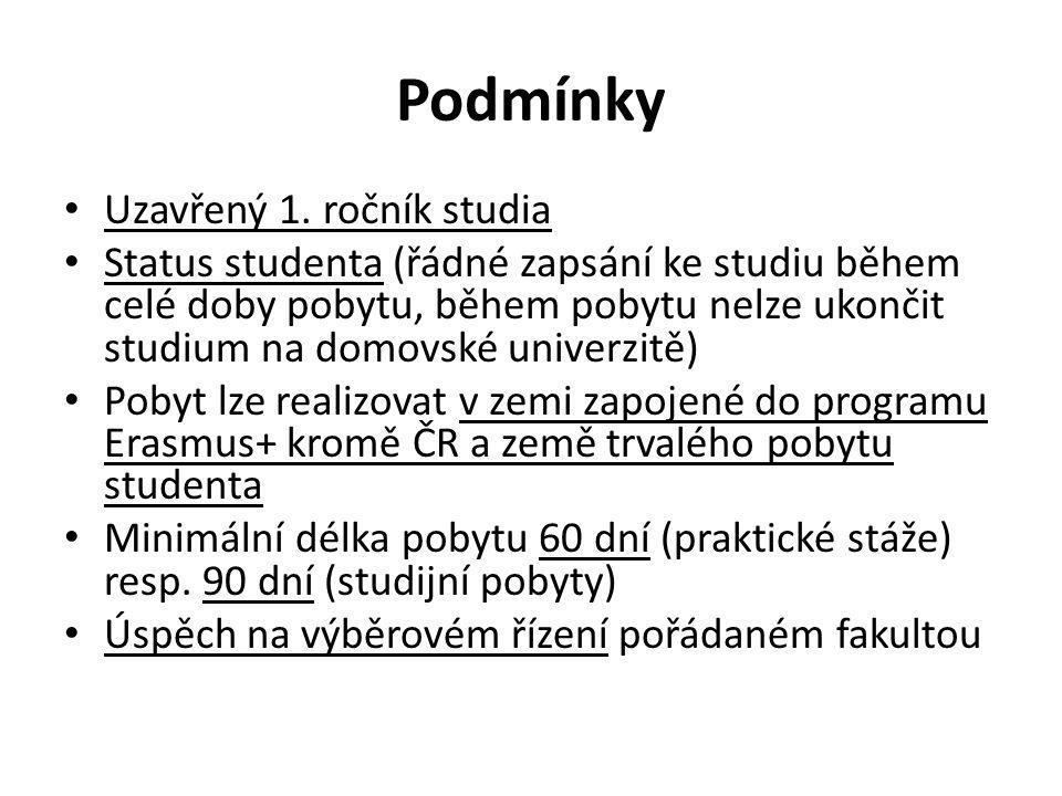 Podmínky Uzavřený 1. ročník studia