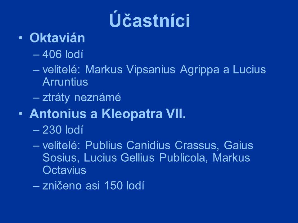 Účastníci Oktavián Antonius a Kleopatra VII. 406 lodí
