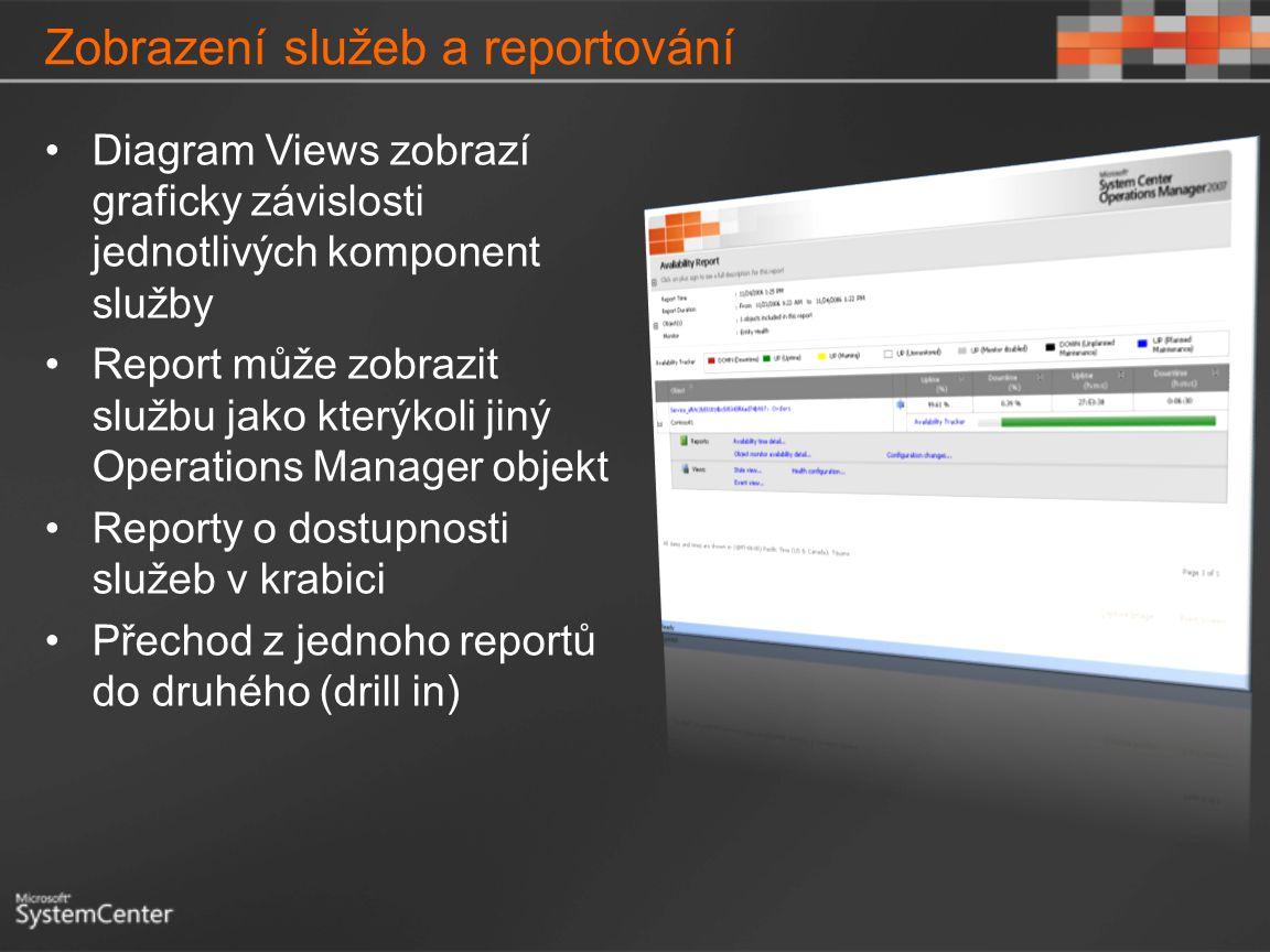 Zobrazení služeb a reportování